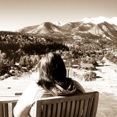 Kate reading in the sun @ Mt Princeton
