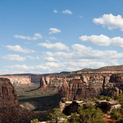 Monument canyon with clouds crossing