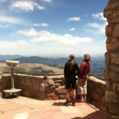 David and Heide looking out from a 14'er