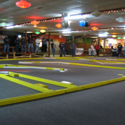 """Racing at another midwest regional series race in Monroe, WI.  This was my """"home track"""" for a few years.  Very large track laid out in a rollerskate rink."""