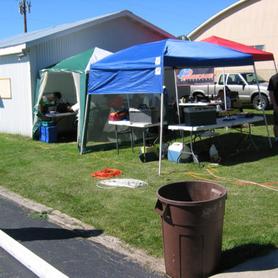 My pit for Nitro Onroad racing (the blue EZ Up) Pitting with my chief rival and friend Neil.