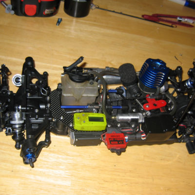 This is the Kyosho as it was ready to run.  Some minor changes would happen over the summer, like replacing the center bulkhead, and moving some weight around.
