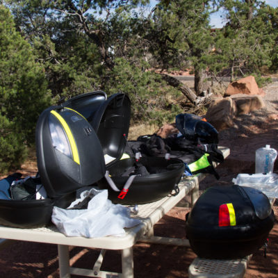 gear sprawl while setting up camp.