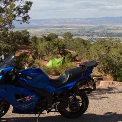 the short lived campsite and unburdened motorcycle