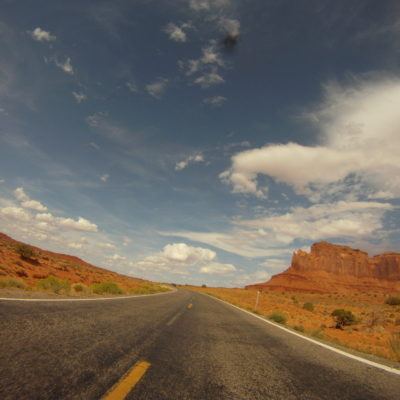 riding trough monument valley. from the gopro hence the bug on the lens.