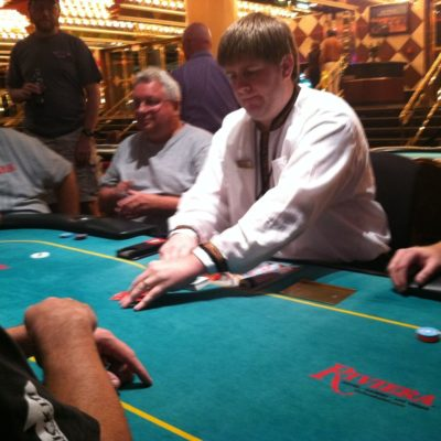 At the final table.  I ended up in the top 4, and tripled my money.