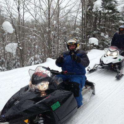 Having fun on the sled!