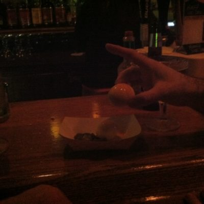 A right of passage in Houghton, Jalapeno Pickled Eggs W/ Tabasco.  This was Whitey and Gregs turn.