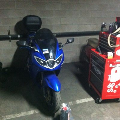 Just before I started tearing it down.  Gas tank came off and most of the fairing for this job.  But it went fast.