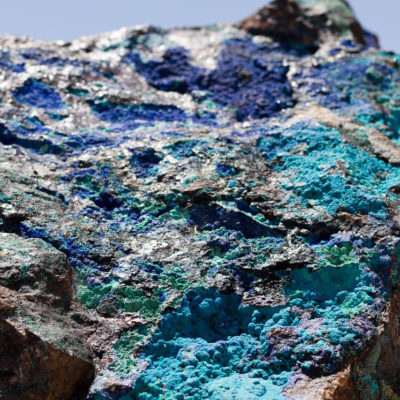 Blue rock crystals found in the mines