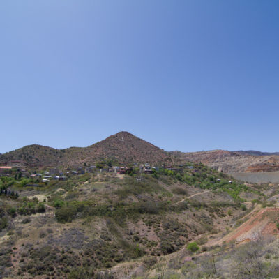 Jerome, az tucked up on a mountain side.  Its called the most vertical city in the us.