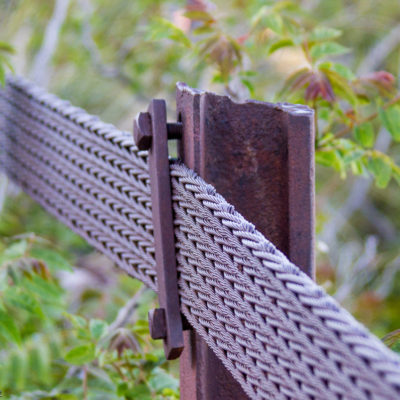 Old mine hoist cable as a guard rail