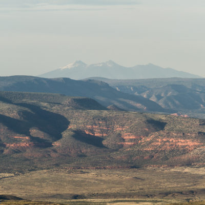 Verde valley at sunset, you can see the San Francisco peaks near flagstaff in the background.