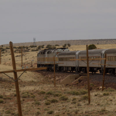 View of the train from the back on a switchback