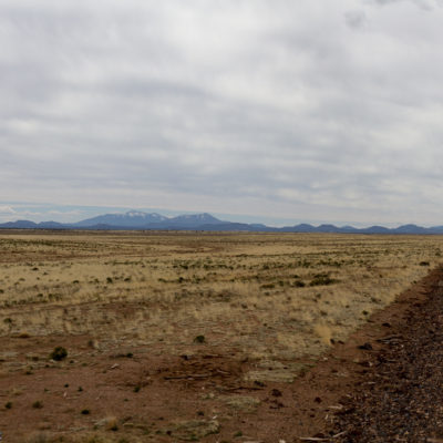 Heading out of Williams, AZ.  You can see the San Francisco peaks in the background.
