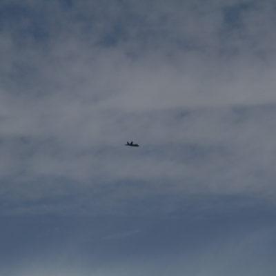 F-22 Raptor flying overhead.