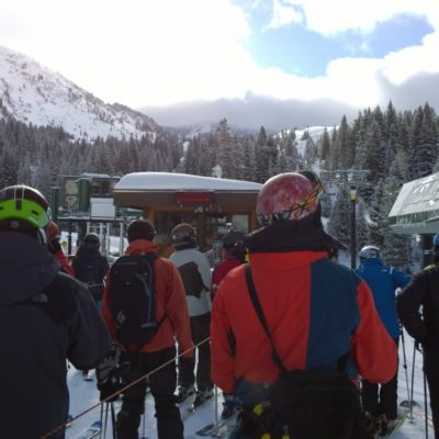 Waiting for the lifts to start at Alta