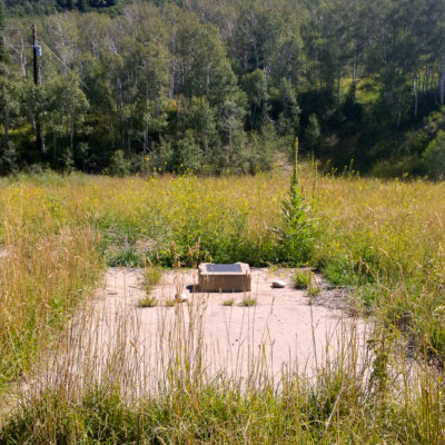 The emplacement well location and plaque for the Rulison test.