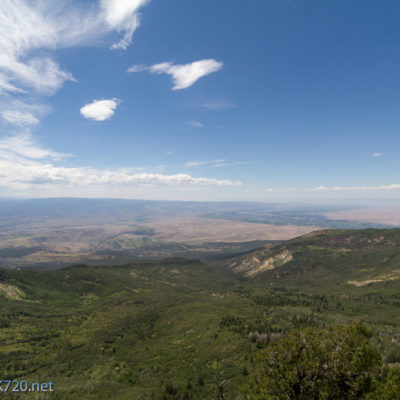 A view looking north west from Grand Mesa.  looking closely you can see Grand Junction, Book Cliffs, Fruita, Co Natl Monument, LaSal Mountains, etc...